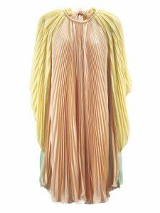 Alberta Ferretti Pleated Chiffon Cape Dress