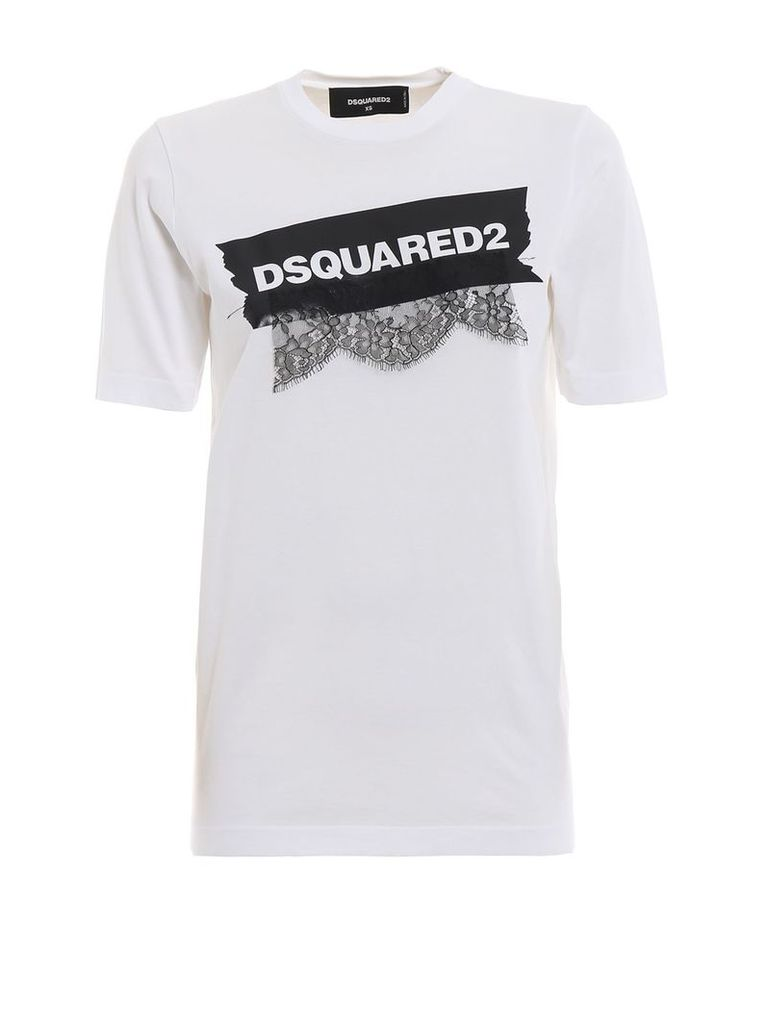 Dsquared2 White Cotton T-shirt With Lace And Logo Print