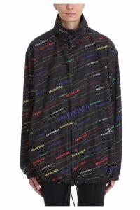 Balenciaga Black All Over Logo Raincoat