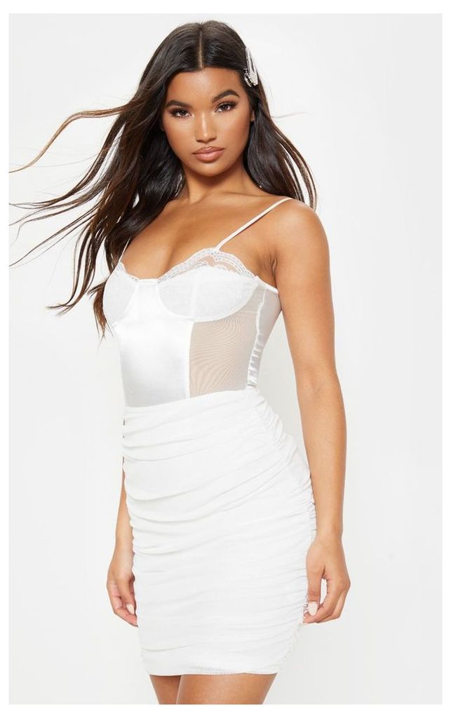Ivory Mesh Ruched Skirt, White