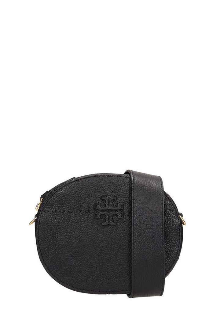 Tory Burch Black Grained Leather Marsupio Bag