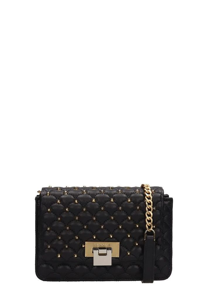Visone Black Quilted Lizzy Leather Bag