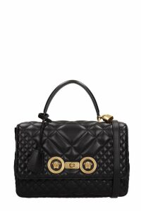 Versace Black Leather Tote Bag
