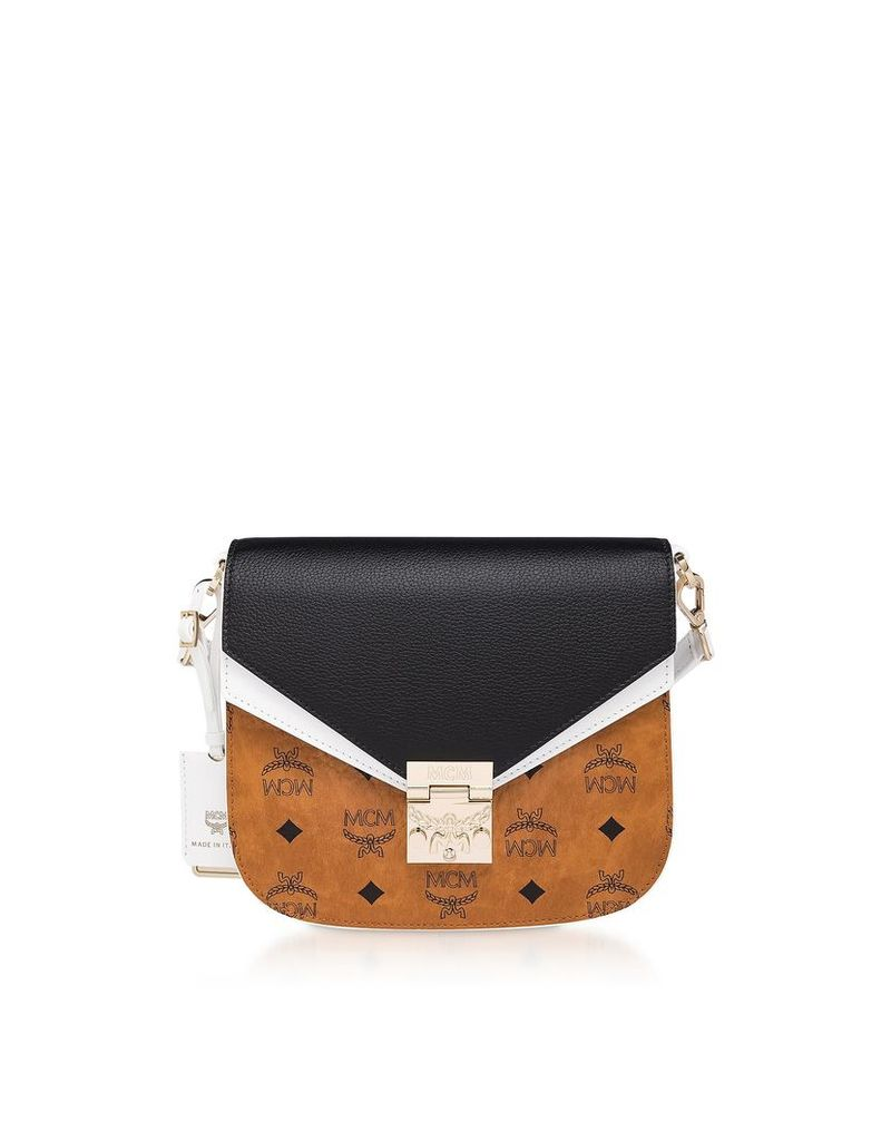 Mcm Cognac & Black Visetos Leather Small Patricia Shoulder Bag