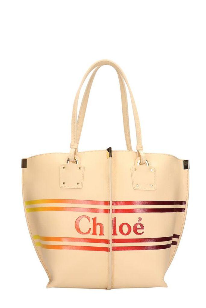 Chloé Medium Vick Beige Calf Leather Tote Bag