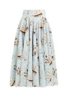Emilia Wickstead - Nicola Ship Print Midi Skirt - Womens - Blue Print
