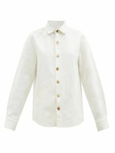 Loretta Caponi - Smocked Floral Print Cotton Maxi Dress - Womens - Brown Multi