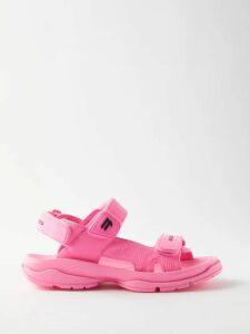 Loretta Caponi - Smocked Floral Print Cotton Maxi Dress - Womens - Pink Multi