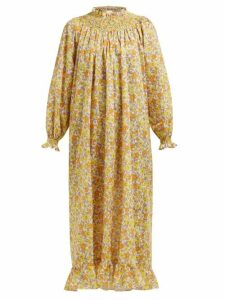 Loretta Caponi - Smocked Floral Print Cotton Maxi Dress - Womens - Yellow Multi