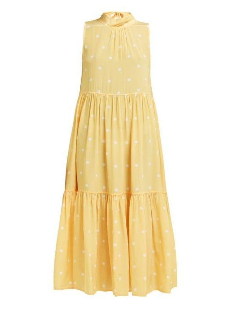 Asceno - Polka Dot Tiered Silk Crepe Midi Dress - Womens - Yellow