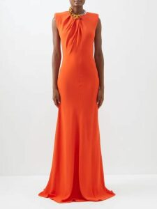 Asceno - Polka Dot Print Tie Neck Silk Dress - Womens - Navy