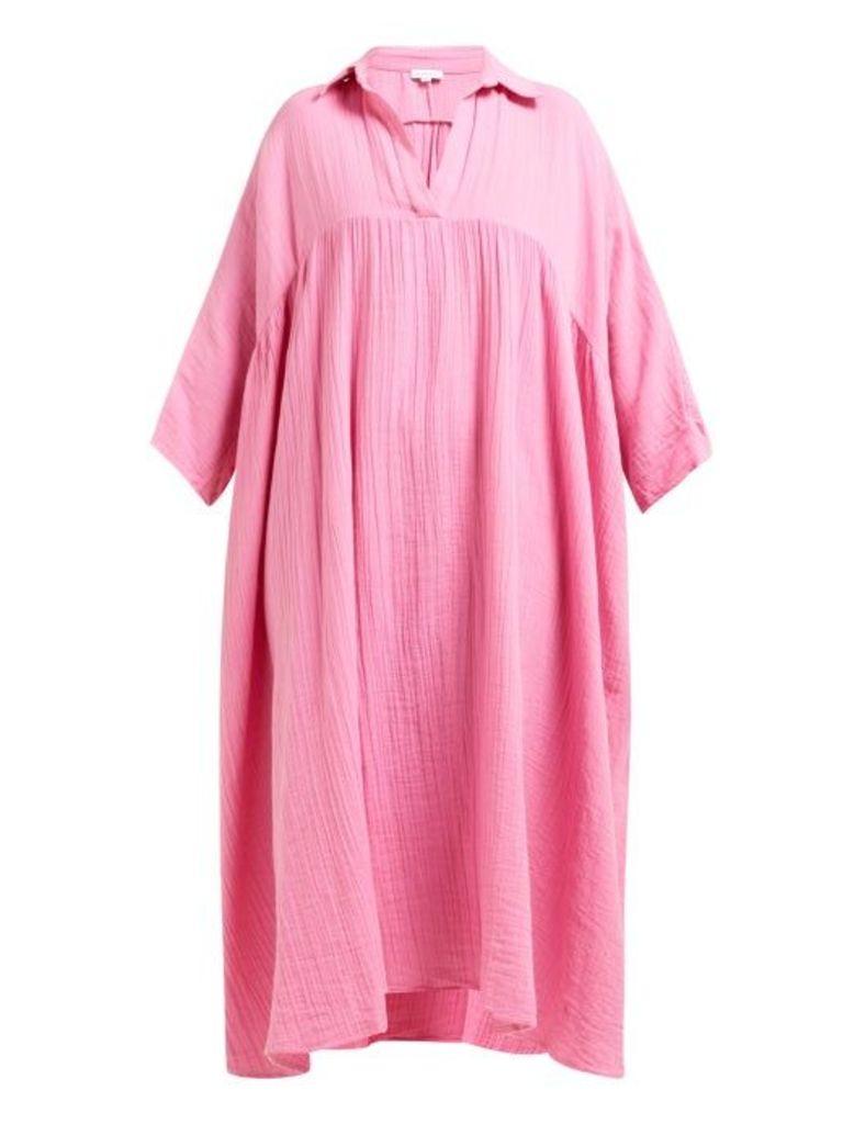 Rhode - Leo Crinkled Cotton Gauze Dress - Womens - Pink