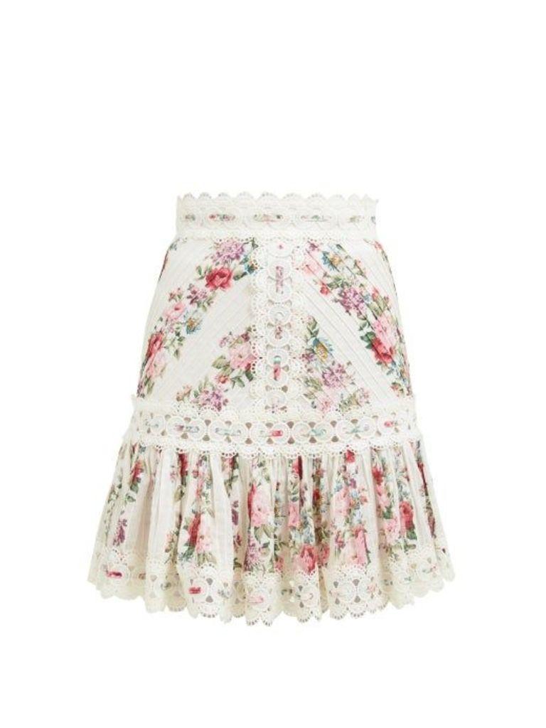 Zimmermann - Honour Floral Print Pintuck Cotton Skirt - Womens - Cream