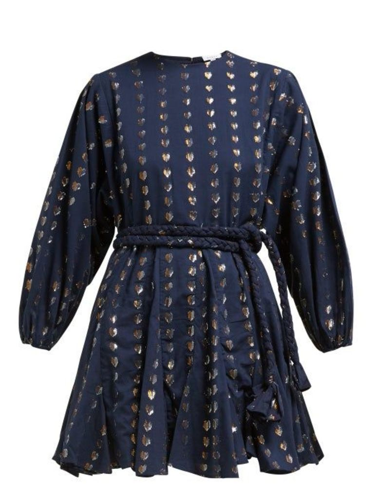 Rhode - Ella Metallic Heart Jacquard Cotton Dress - Womens - Navy Print