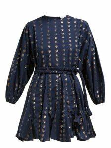 Rhode - Ella Metallic Heart Jacquard Cotton Dress - Womens - Navy Print