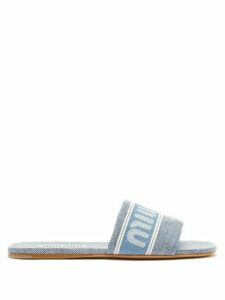 Rhode - Leela Tiered Abstract Print Cotton Midi Dress - Womens - Blue Print