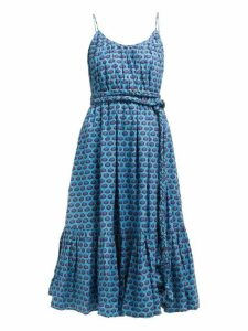 Rhode - Lea Belted Abstract Print Cotton Midi Dress - Womens - Blue Print