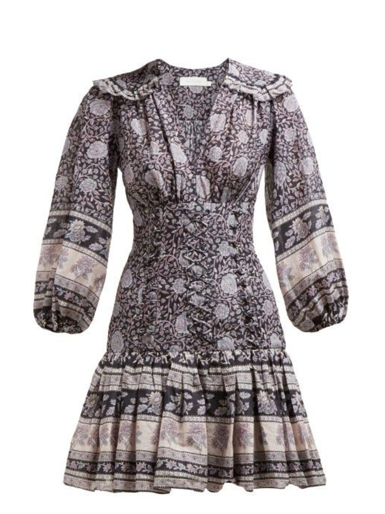Zimmermann - Amari Paisley Print Ruffled Cotton Mini Dress - Womens - Navy