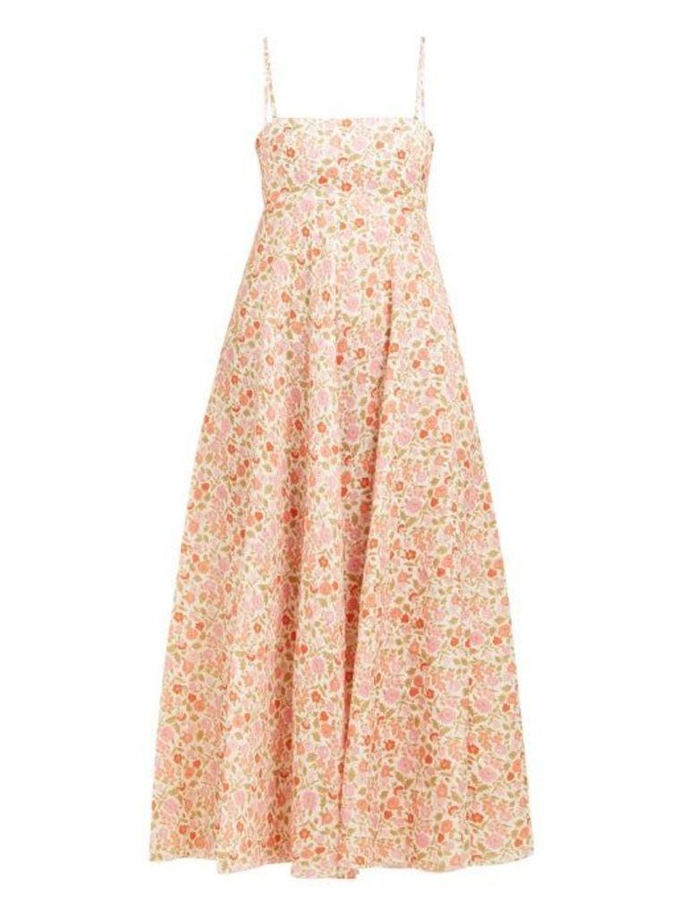 Zimmermann - Goldie Floral Print Linen Dress - Womens - Pink