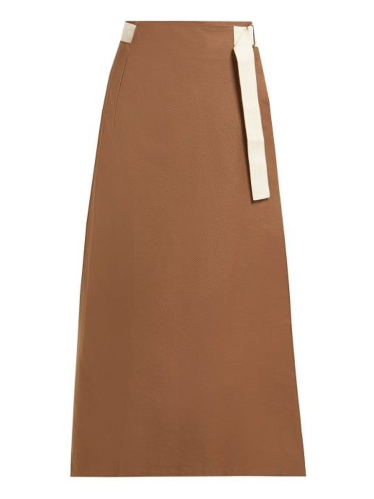 Albus Lumen - Nada Cotton Wrap Skirt - Womens - Brown