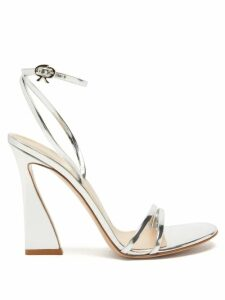 Asceno - Polka Dot Tiered Silk Crepe Midi Dress - Womens - Navy