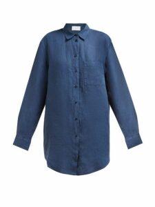 Asceno - Oversized Linen Poplin Shirt - Womens - Navy