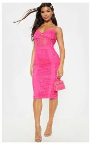 Hot Pink Strappy Lace Mesh Insert Midi Dress, Hot Pink
