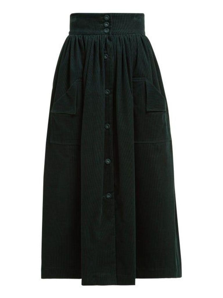The Vampire's Wife - Visiting Buttoned Corduroy Midi Skirt - Womens - Dark Green