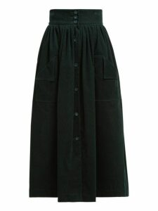 The Vampire's Wife - Visiting Button Front Cotton Corduroy Midi Skirt - Womens - Dark Green