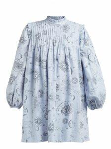 Ganni - Over The Moon Print Poplin Mini Dress - Womens - Blue