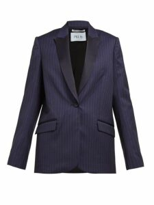Pallas X Claire Thomson-jonville - Eagle Pinstriped Single Breasted Wool Blazer - Womens - Navy