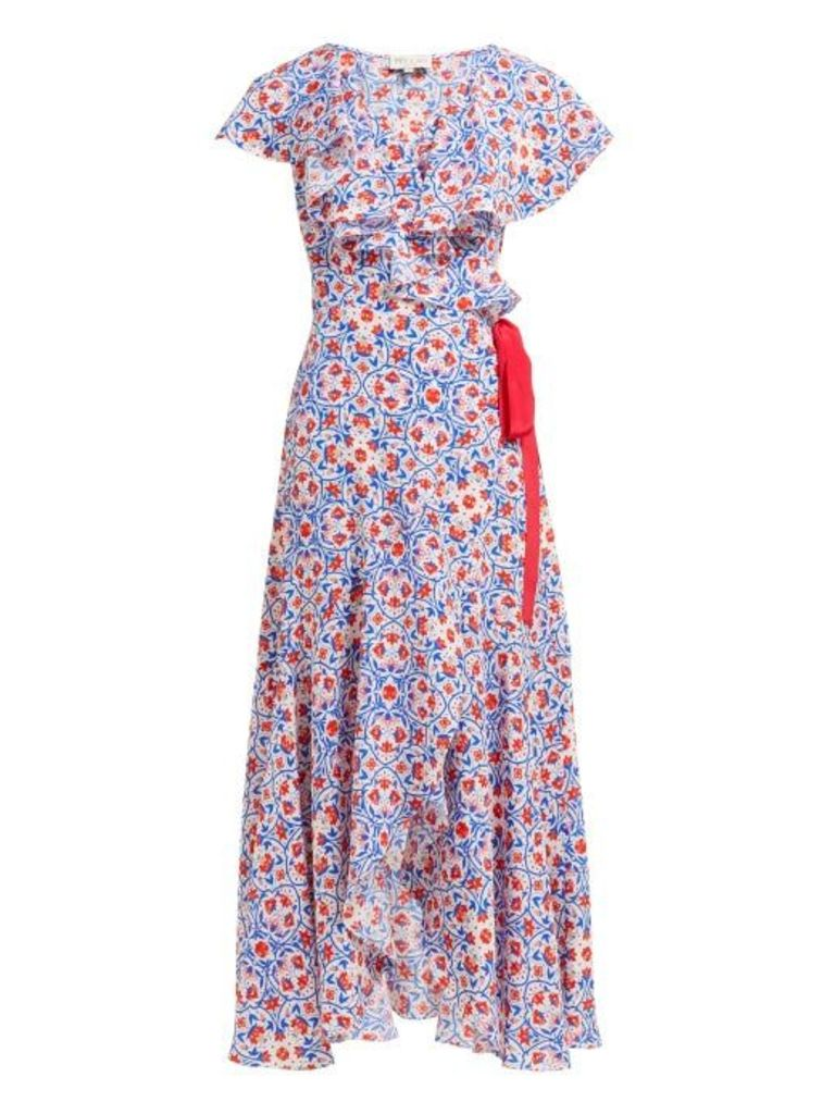 Beulah - Ratna Floral Print Silk Wrap Dress - Womens - Red Multi