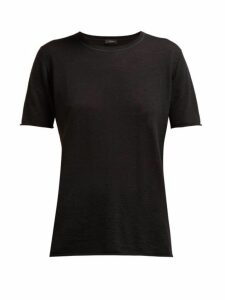 Joseph - Cashair Rolled Edge Cashmere Jersey T Shirt - Womens - Black