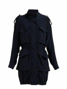 Norma Kamali - Cargo Pocket Stretch Jersey Dress - Womens - Navy