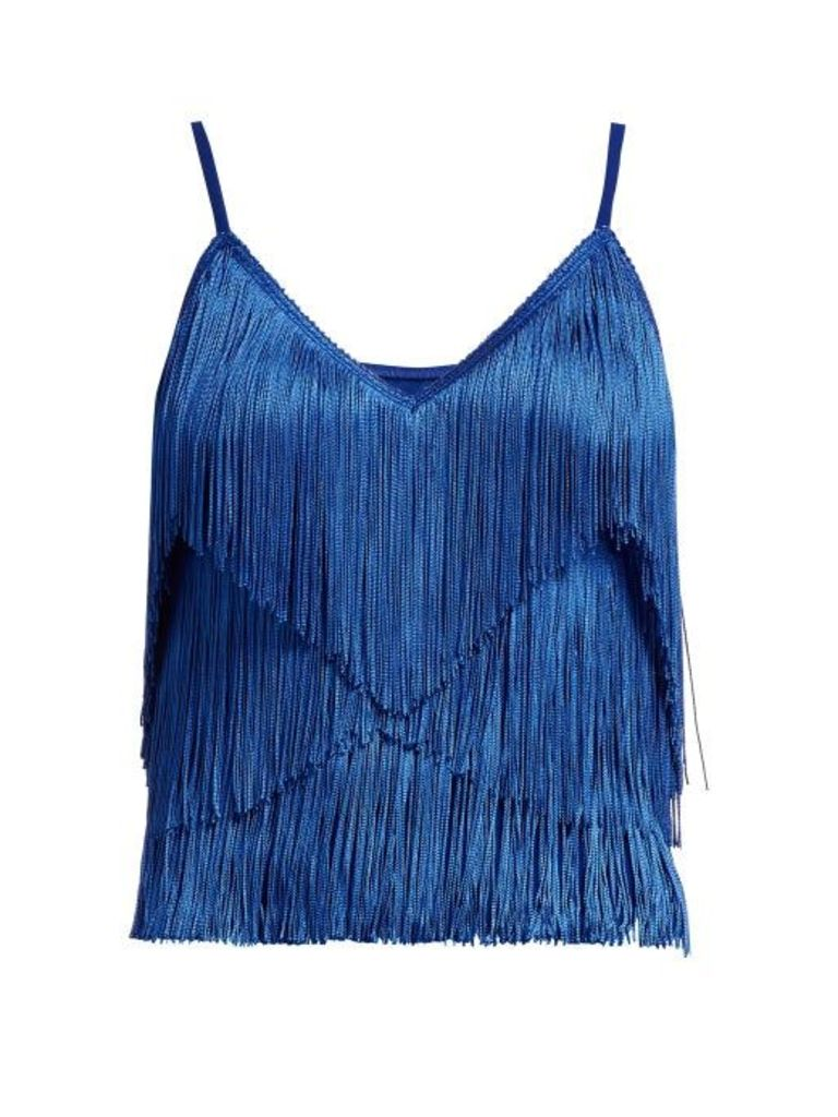 Norma Kamali - Tiered Fringe Stretch Jersey Crop Top - Womens - Blue