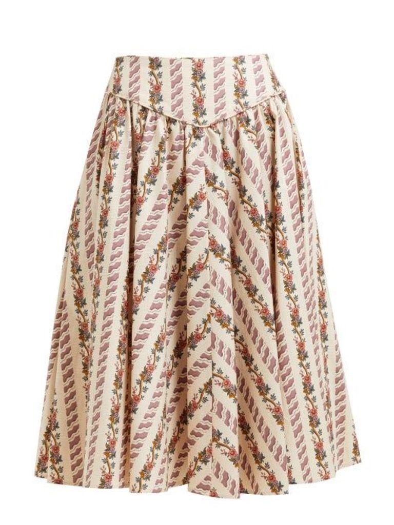 Batsheva - Floral Print Cotton Skirt - Womens - Cream Multi