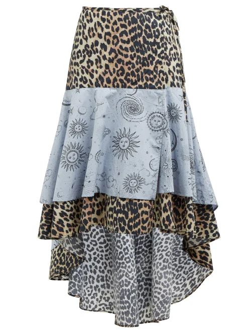 Ganni - Leopard And Moon Print High Low Hem Cotton Skirt - Womens - Blue Multi