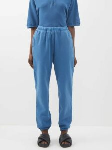 Ganni - Leopard And Moon Print Dip Hem Cotton Skirt - Womens - Blue Multi