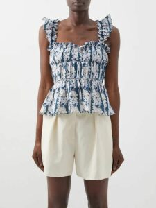 Wandler - Hortensia Mini Canvas And Leather Cross Body Bag - Womens - Brown White