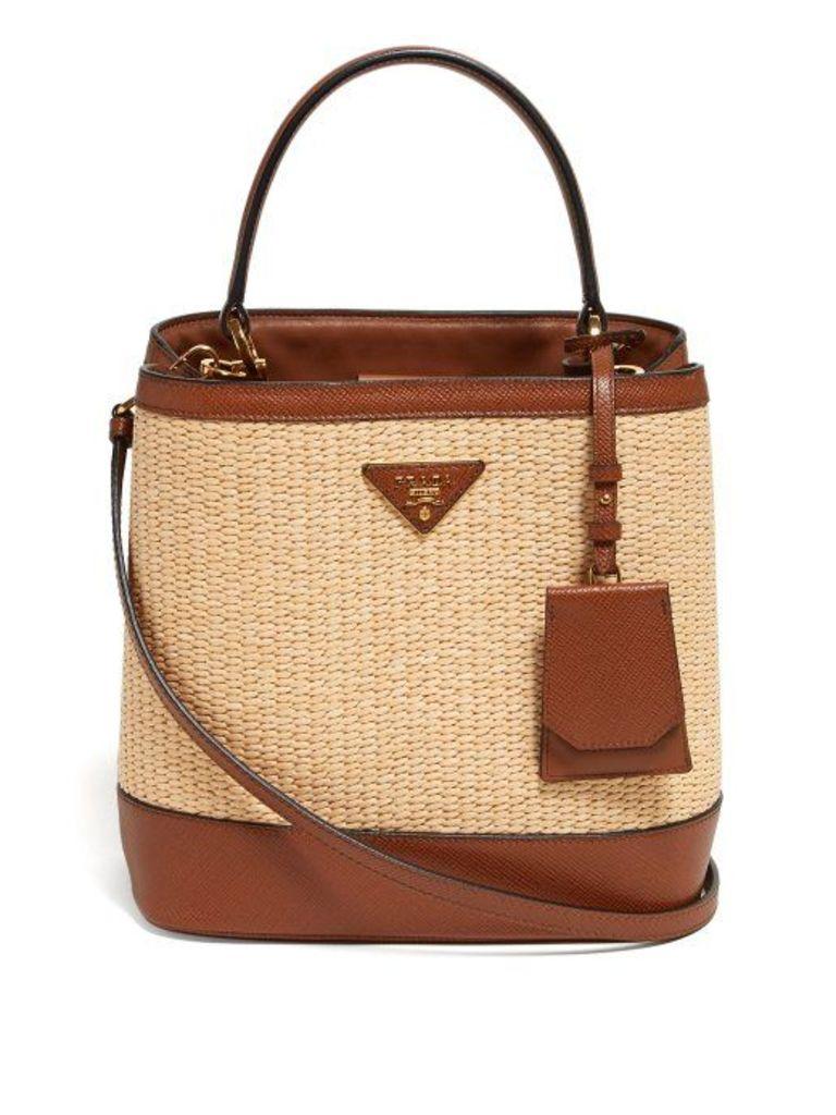 Prada - Raffia And Leather Cross Body Bag - Womens - Beige Multi