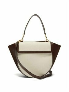 Wandler - Hortensia Medium Canvas And Leather Bag - Womens - Brown White