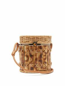Wai Wai - Bongo Bamboo And Wicker Basket Bag - Womens - Brown Multi