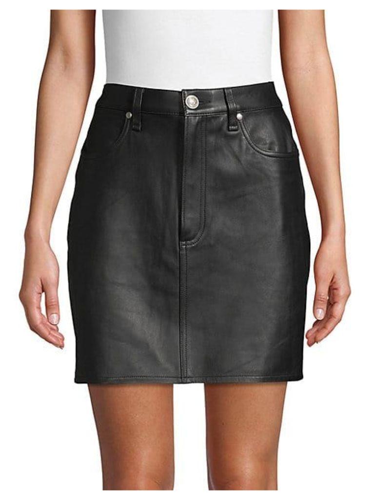 Moss Leather Skirt
