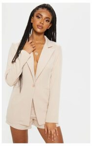 Stone Fitted Suit Woven Blazer, White