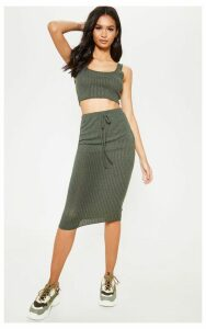 Khaki Knitted Ribbed Midi Skirt, Green