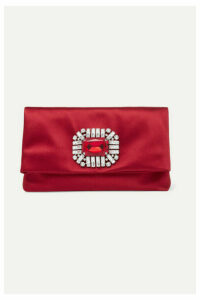 Jimmy Choo - Tatiania Crystal-embellished Satin Clutch - Red