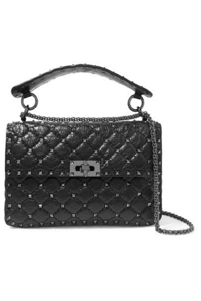 Valentino - Valentino Garavani The Rockstud Spike Small Quilted Cracked-leather Shoulder Bag - Black