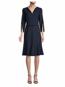 Belted Slit Sleeve Flare Dress