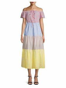 Off-The-Shoulder Seersucker Dress