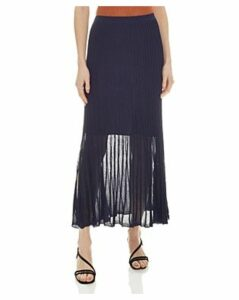 Sandro Emanuelle Pleated Metallic-Knit Midi Skirt